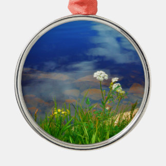 Queen Ann's lace flowers, blue mountain lake Christmas Ornament
