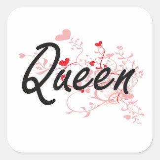 Queen Artistic Job Design with Hearts Square Sticker