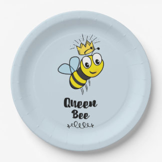 Queen Bee Cute Bumble Bee with Crown Paper Plate