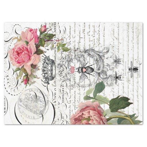 Queen Bee Floral Script Decoupage Sheet