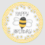 Queen Bee Happy Birthday Party Favour Round Stickers