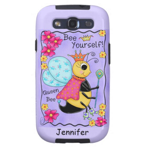 Queen Bee Lavender Honey Bee Art Personalized Samsung Galaxy SIII Case