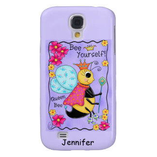 Queen Bee Lavender Honey Bee Art Personalized Galaxy S4 Case
