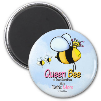Queen Bee Mum of Twins button Magnets