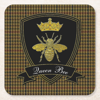 Queen Bee Tweed Your Text Square Paper Coaster