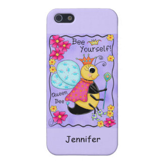 Queen Bee Whimsy Honey Bee Art Purple Personalized iPhone 5 Cover