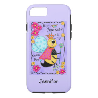 Queen Bee Whimsy Honey Bee Art Purple Personalized iPhone 7 Case