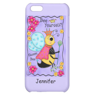 Queen Bee Whimsy Honey Bee Art Purple Personalized iPhone 5C Covers
