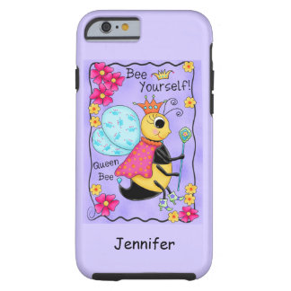 Queen Bee Whimsy Honey Bee Art Purple Personalized iPhone 6 Case