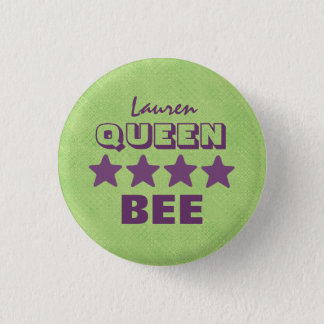 QUEEN BEE with Stars GREEN and PURPLE Boss V20C 3 Cm Round Badge
