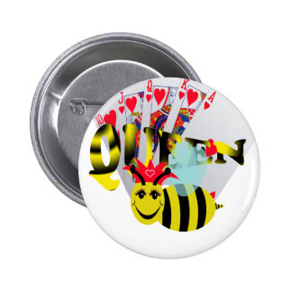 queen bees royal flush 6 cm round badge