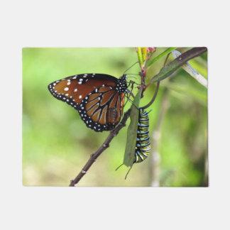 Queen Butterfly and Monarch Caterpillar Doormat