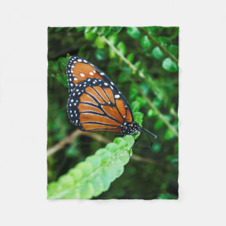 Queen Butterfly on Fern Fleece Blanket