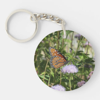 Queen Butterfly on Purple Flower Double-Sided Round Acrylic Key Ring