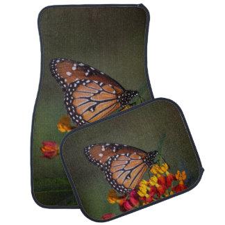 Queen butterfly on tropical milkweed car mat