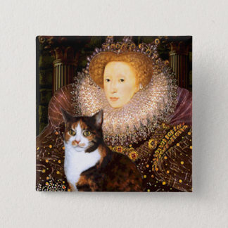 Queen - Calico short haired 15 Cm Square Badge