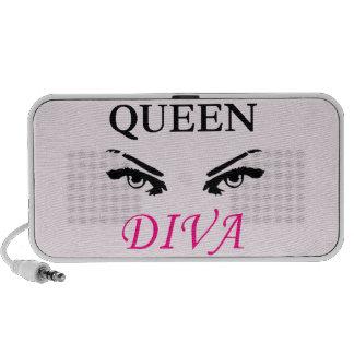 Queen Diva black & pink logo with feminine eyes Portable Speakers
