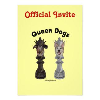 Queen Dogs Chess Custom Invitation