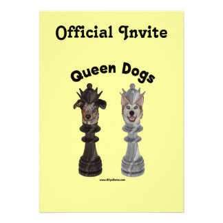 Queen Dogs Chess Personalized Invitations