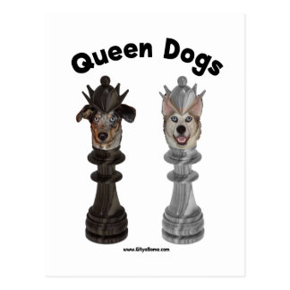 Queen Dogs Chess Postcard