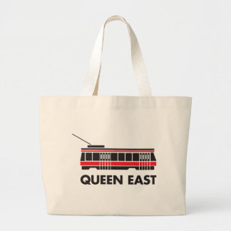 Queen East (Toronto) and Streetcar Large Tote Bag