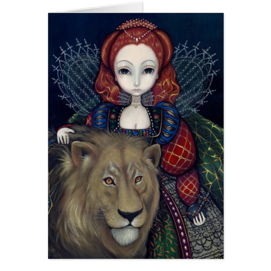 """Queen Elizabeth and a Lion"" Greeting Card"