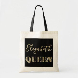Queen Elizabeth Black Gold Glitter Typography Chic Tote Bag