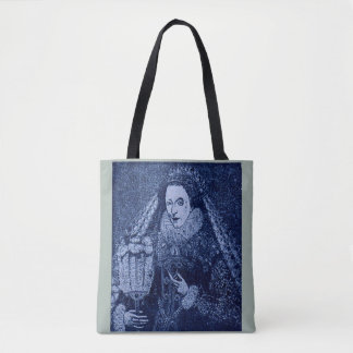 Queen Elizabeth I in blue Tote Bag