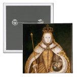 Queen Elizabeth I in Coronation Robes Pinback Button