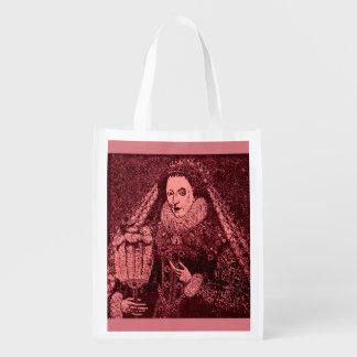 Queen Elizabeth I in pink Reusable Grocery Bag