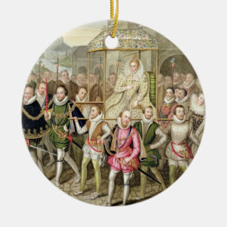 Queen Elizabeth I in procession with her Courtiers Christmas Ornament