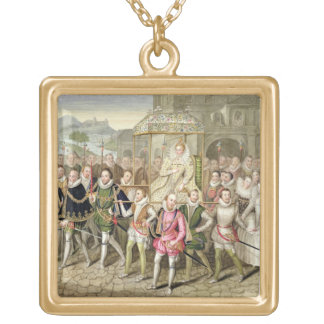 Queen Elizabeth I in procession with her Courtiers Gold Plated Necklace