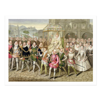 Queen Elizabeth I in procession with her Courtiers Postcard