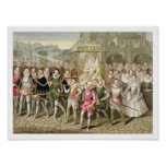 Queen Elizabeth I in procession with her Courtiers Poster
