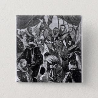 Queen Elizabeth I  Knighting Francis Drake 15 Cm Square Badge