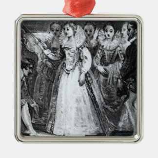 Queen Elizabeth I  Knighting Francis Drake Silver-Colored Square Decoration
