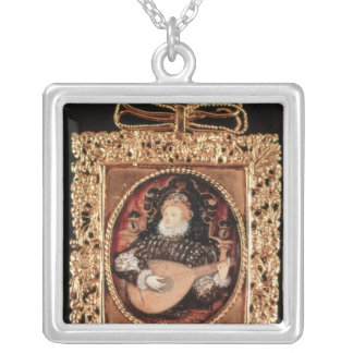 Queen Elizabeth I playing the lute Silver Plated Necklace