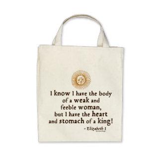 Queen Elizabeth I Tilbury Quote Canvas Bags