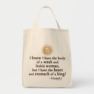 Queen Elizabeth I Tilbury Quote Grocery Tote Bag