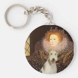Queen Elizabeth I - Wire Fox Terrier #1 Basic Round Button Key Ring