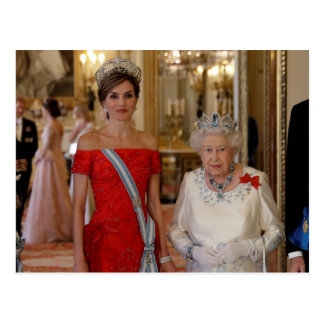 Queen Elizabeth II and Queen Letizia of Spain Postcard