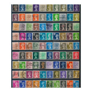 Queen Elizabeth II Definitive Stamps Poster