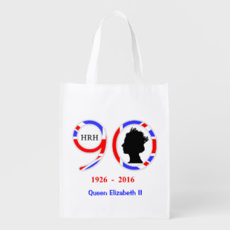 Queen Elizabeth II Of England 90th Birthday Reusable Grocery Bag