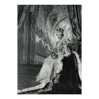 Queen Elizabeth II wearing coronation regalia Poster