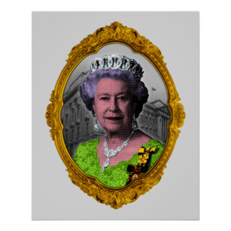 Queen Elizabeth Portrait in Frame Poster