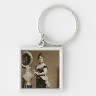 Queen Emma (1836-85) (sepia photograph) Silver-Colored Square Key Ring