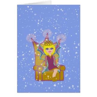 Queen Faerie Blonde Sitting on Throne Cartoon Art Greeting Card