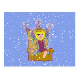 Queen Faerie Blonde Sitting on Throne Cartoon Art Postcard