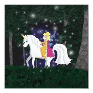 Queen Faery and Unicorn Forest 13 Cm X 13 Cm Square Invitation Card