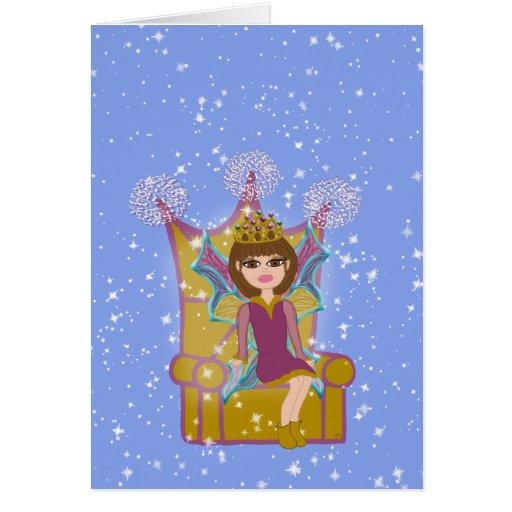 Queen Fairy Brunette Sitting on Throne Cartoon Art Card